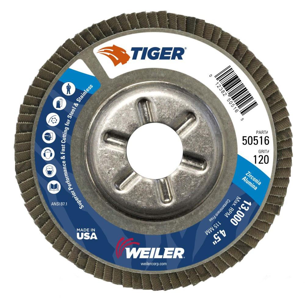 "4-1/2"" Dia. x 7/8"" Arbor Hole x 120 Grit Tiger® Aluminum Back Flap Disc - Type 29"