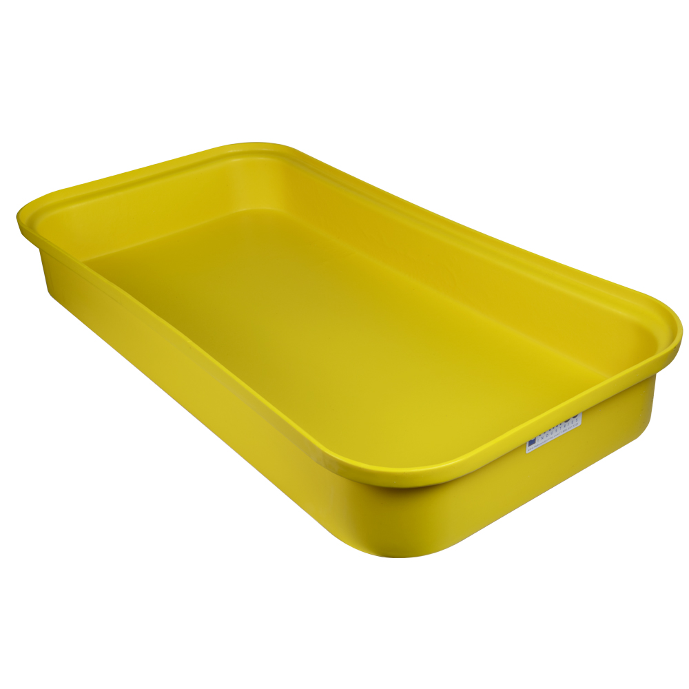"Yellow LLDPE Tamco® 2 Drum Spill Tray with Drain - 52"" L x 26"" W x 7"" Hgt."