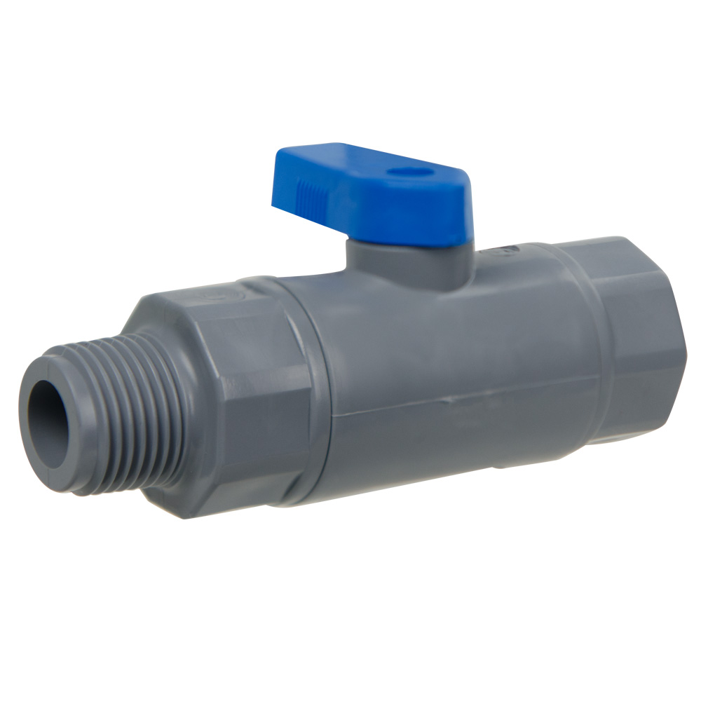 "1/2"" MNPT x 1/2"" FNPT Series 638 Straight PVC Ball Valve with Buna-N Seal"