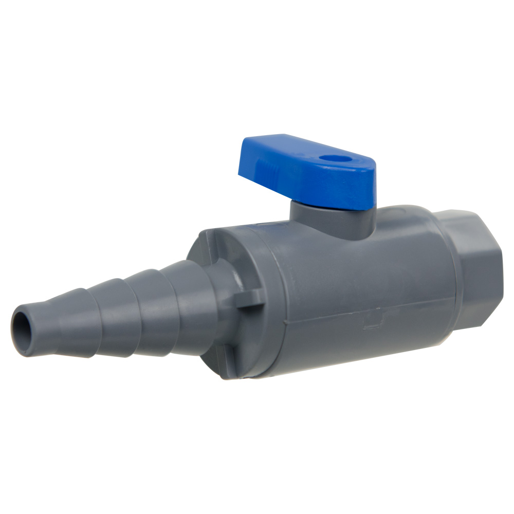 """3/8"""" to 5/8"""" Tapered Barb x 1/4"""" MNPT Series 638 Straight PVC Ball Valve with Buna-N Seal"""