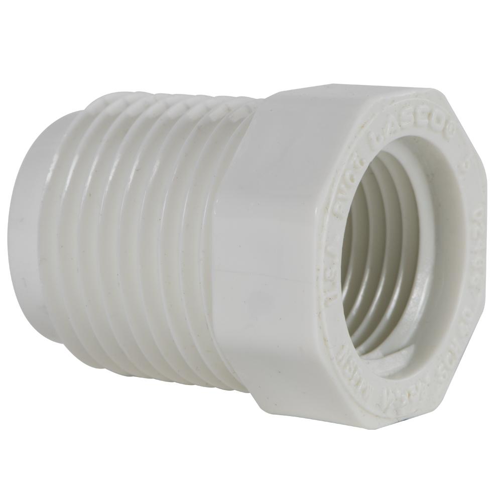 "1/2"" MNPT x 3/8"" FNPT Schedule 40 White PVC Threaded Reducing Bushing"