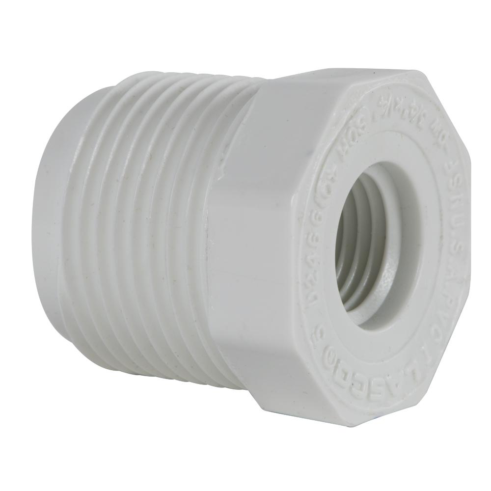 "3/4"" MNPT x 1/4"" FNPT Schedule 40 White PVC Threaded Reducing Bushing"