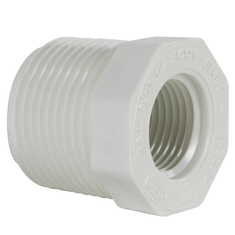 "3/4"" MNPT x 3/8"" FNPT Schedule 40 White PVC Threaded Reducing Bushing"