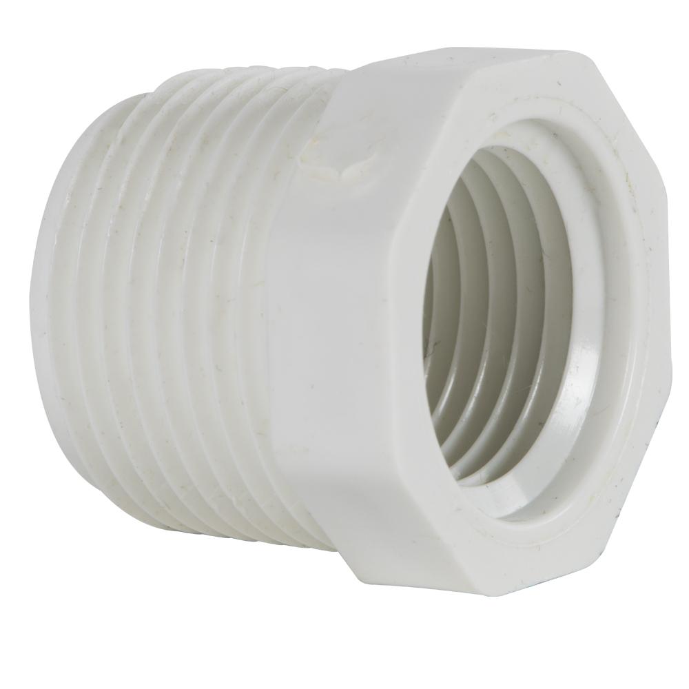 "3/4"" MNPT x 1/2"" FNPT Schedule 40 White PVC Threaded Reducing Bushing"