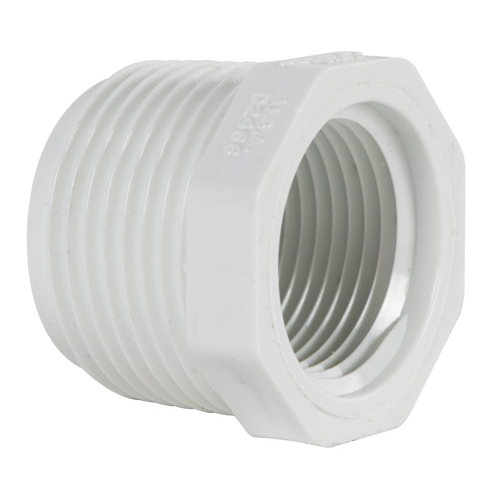 "1-1/4"" MNPT x 1"" FNPT Schedule 40 White PVC Threaded Reducing Bushing"