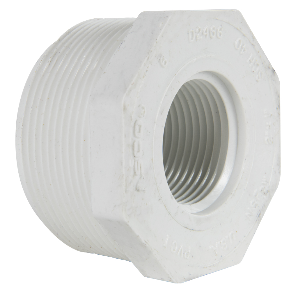 "2"" MNPT x 1"" FNPT Schedule 40 White PVC Threaded Reducing Bushing"