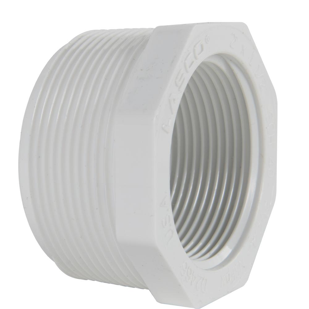 "2"" MNPT x 1-1/2"" FNPT Schedule 40 White PVC Threaded Reducing Bushing"