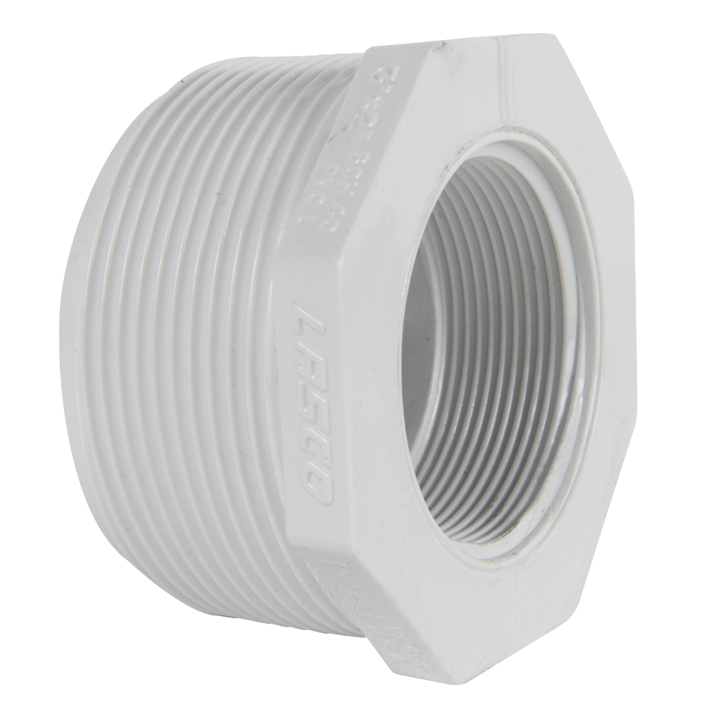 "3"" MNPT x 2"" FNPT Schedule 40 White PVC Threaded Reducing Bushing"