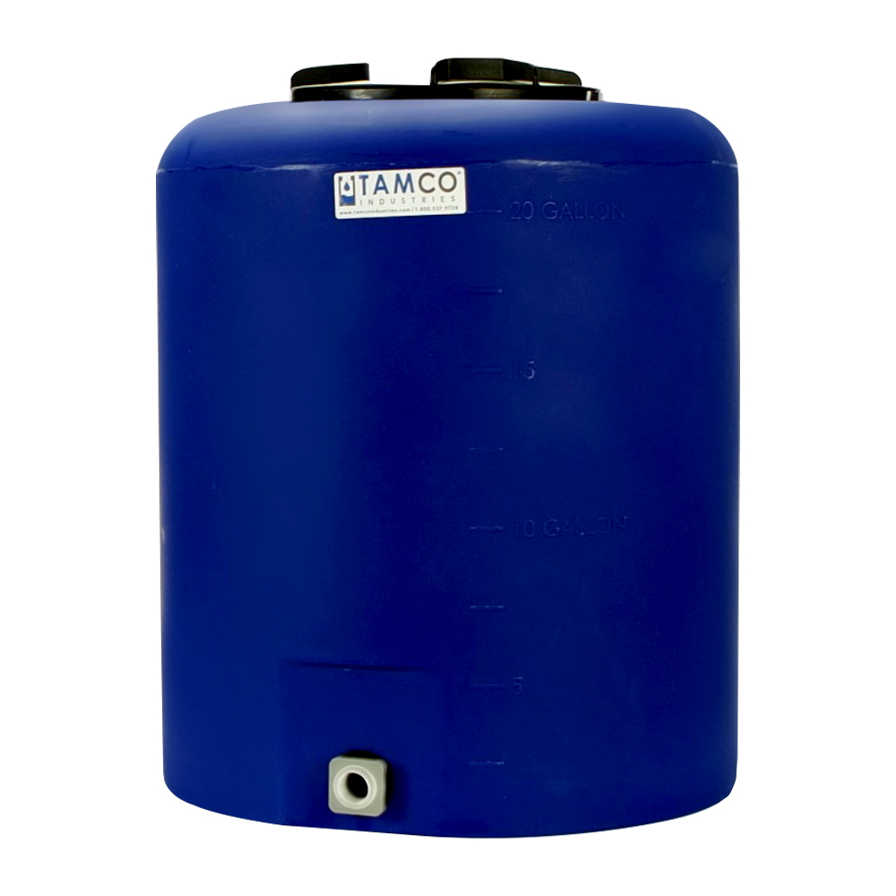 """20 Gallon Tamco® Vertical Blue PE Tank with 8"""" Lid & 3/4"""" Fitting - 19"""" Dia. x 23"""" High"""
