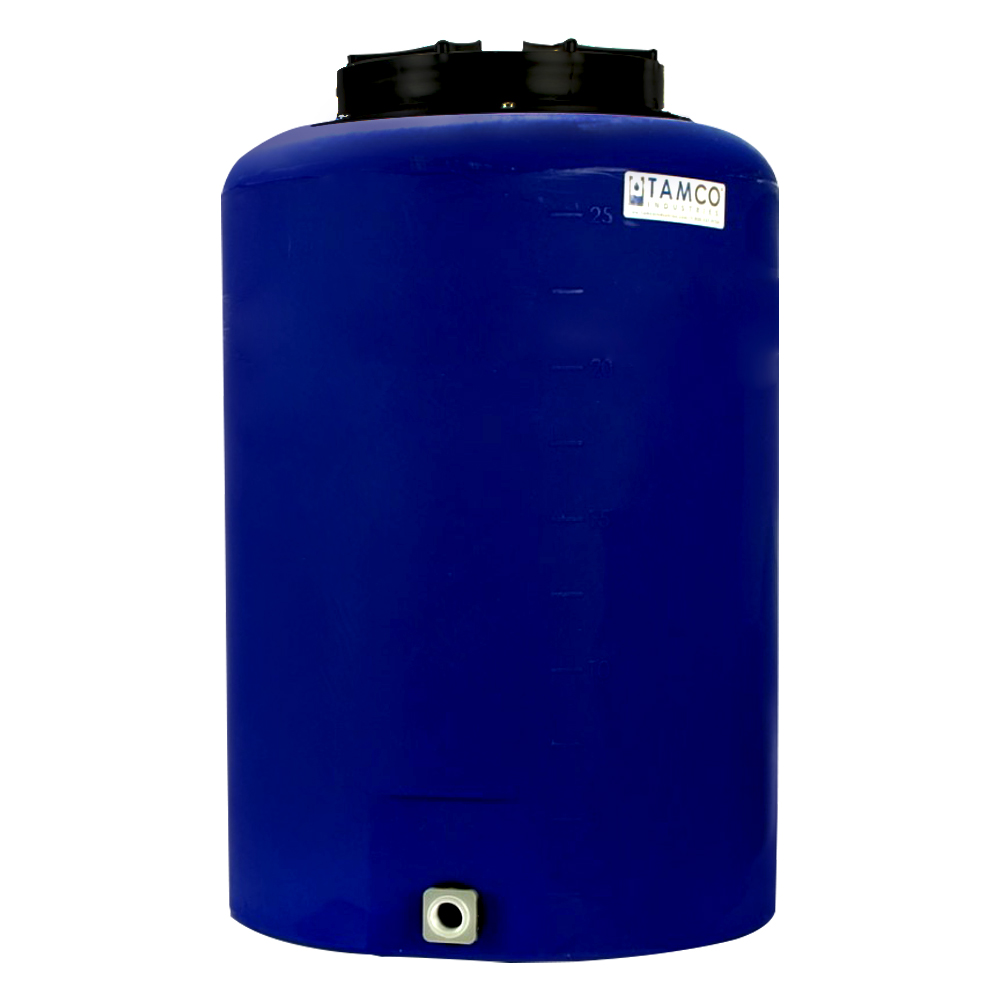 """25 Gallon Tamco® Vertical Blue PE Tank with 12-1/2"""" Lid & 3/4"""" Fitting - 19"""" Dia. x 29"""" High"""