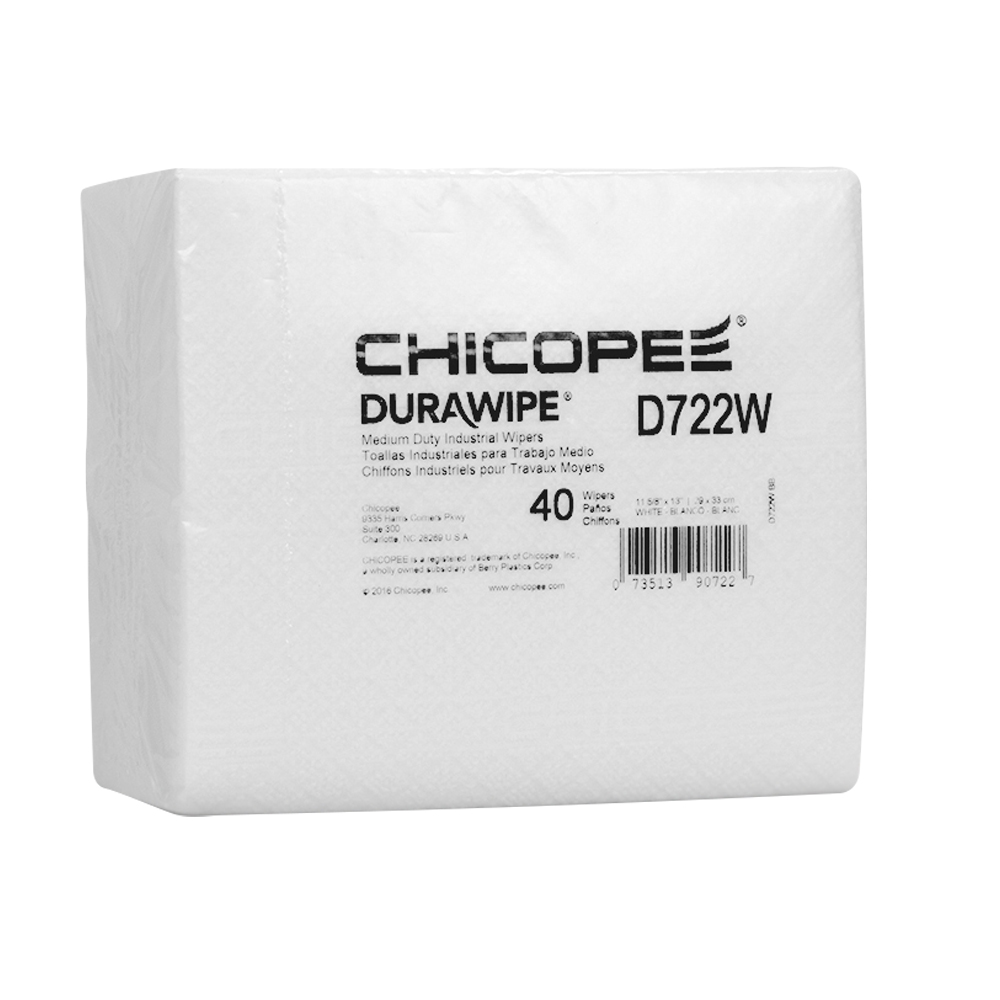 "11.6"" x 13"" White Medium-Duty Wipers 80 gsm - 40 Wipes/1/4 Fold Pack"