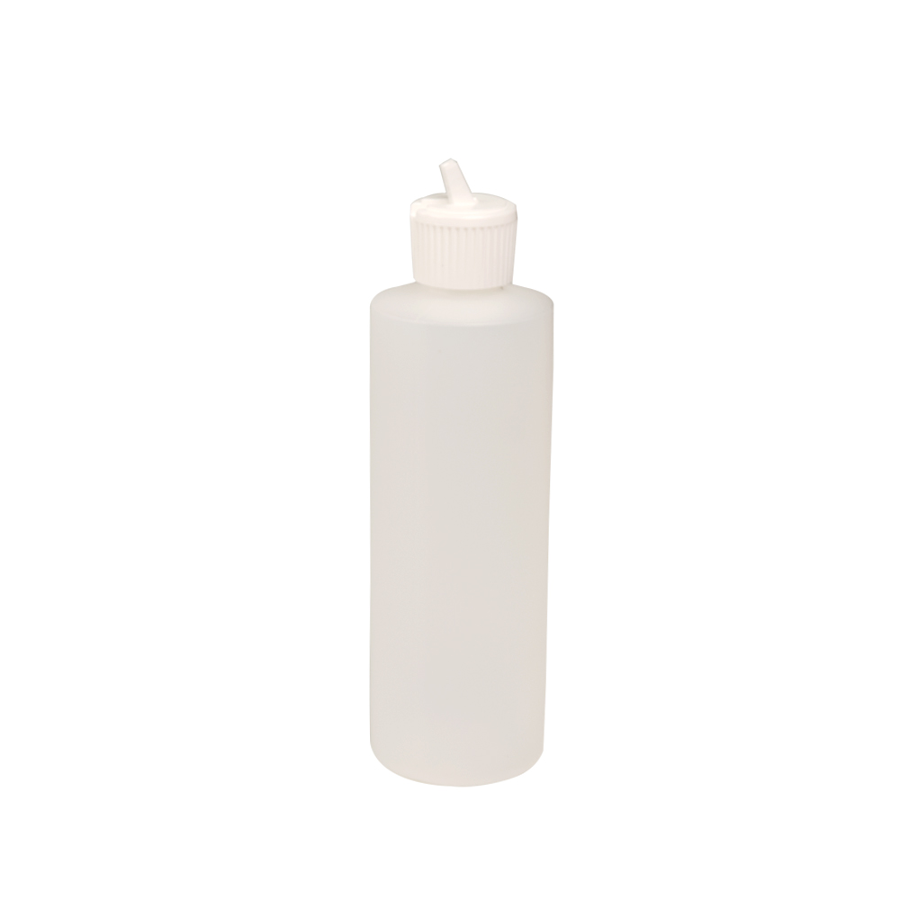 8 oz. Natural HDPE Cylindrical Sample Bottle with 24/410 Flip-Top Cap