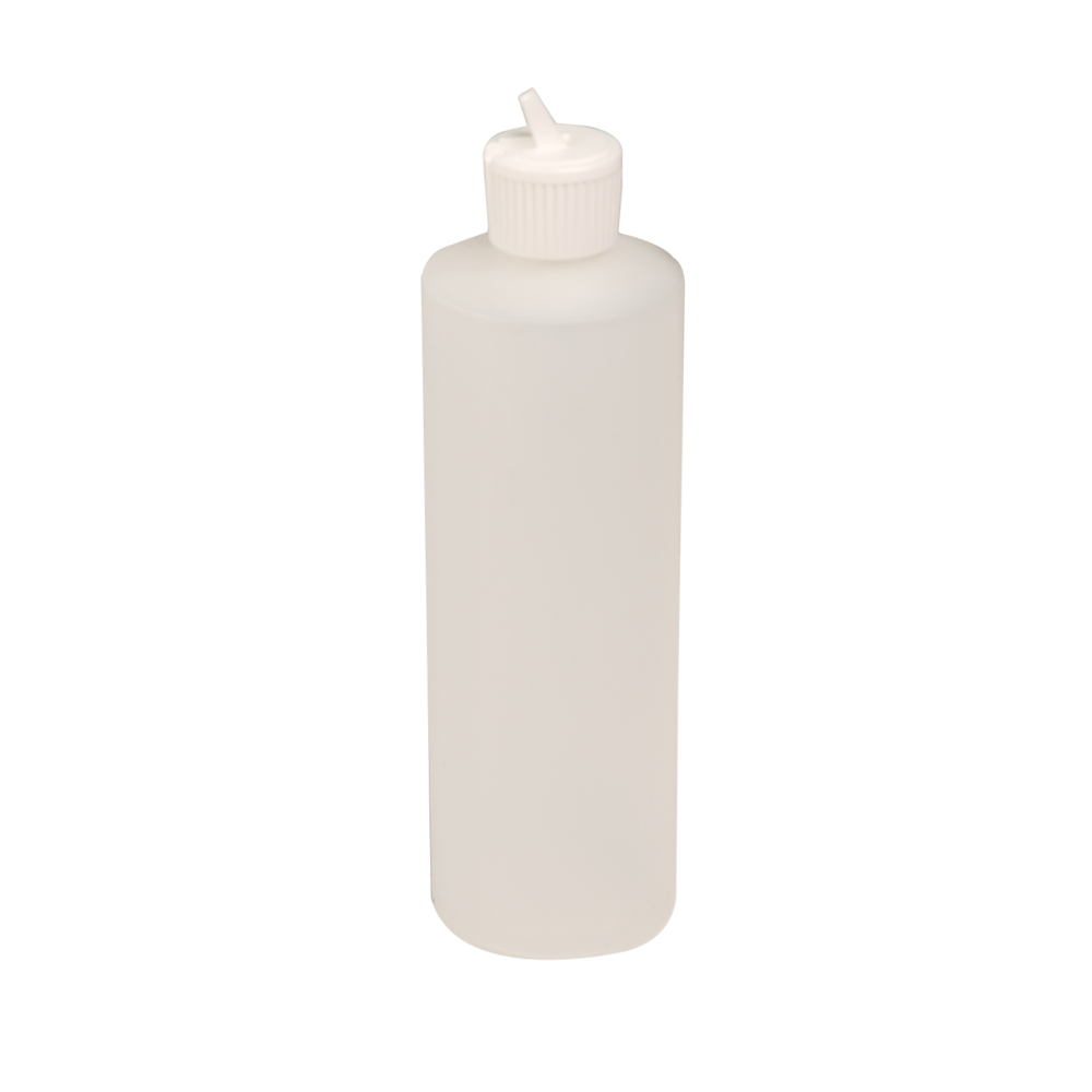 12 oz. Natural HDPE Cylindrical Sample Bottle with 24/410 Flip-Top Cap