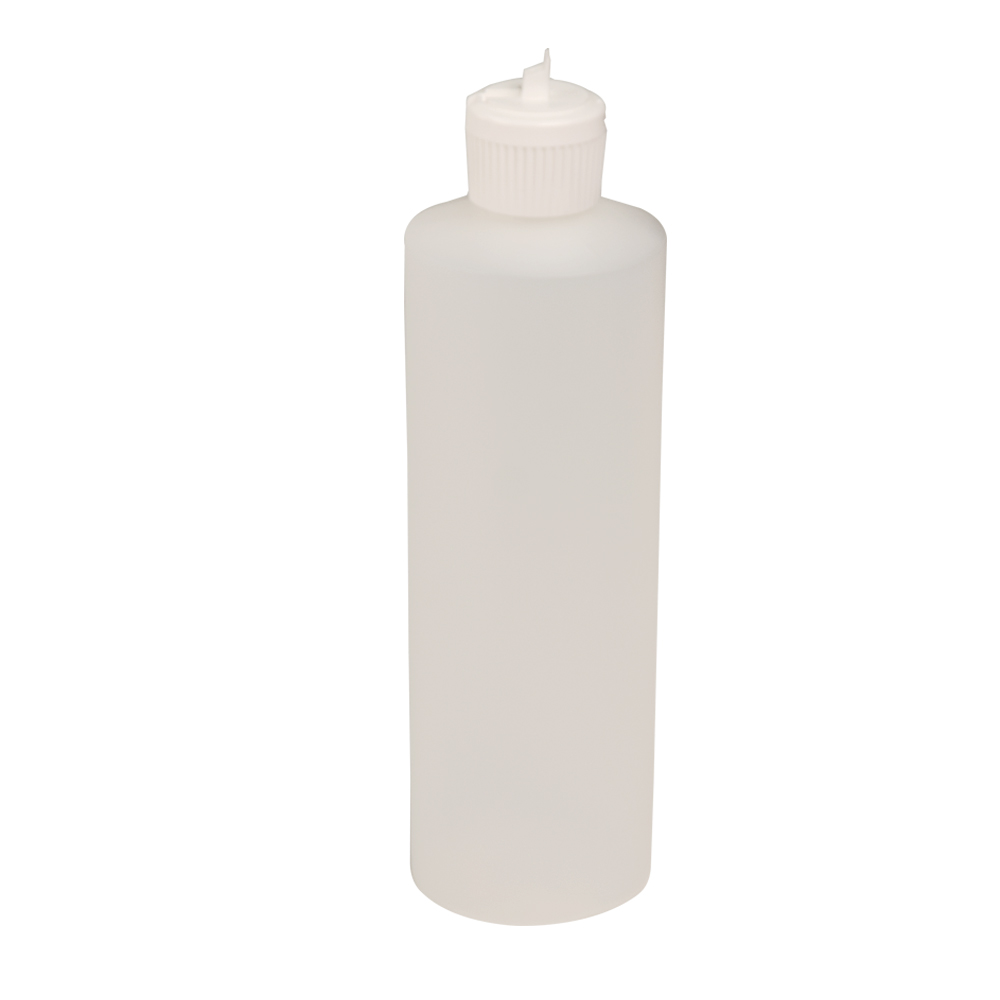 16 oz. Natural Cylindrical Sample Bottle with 28/410 Flip Top Cap