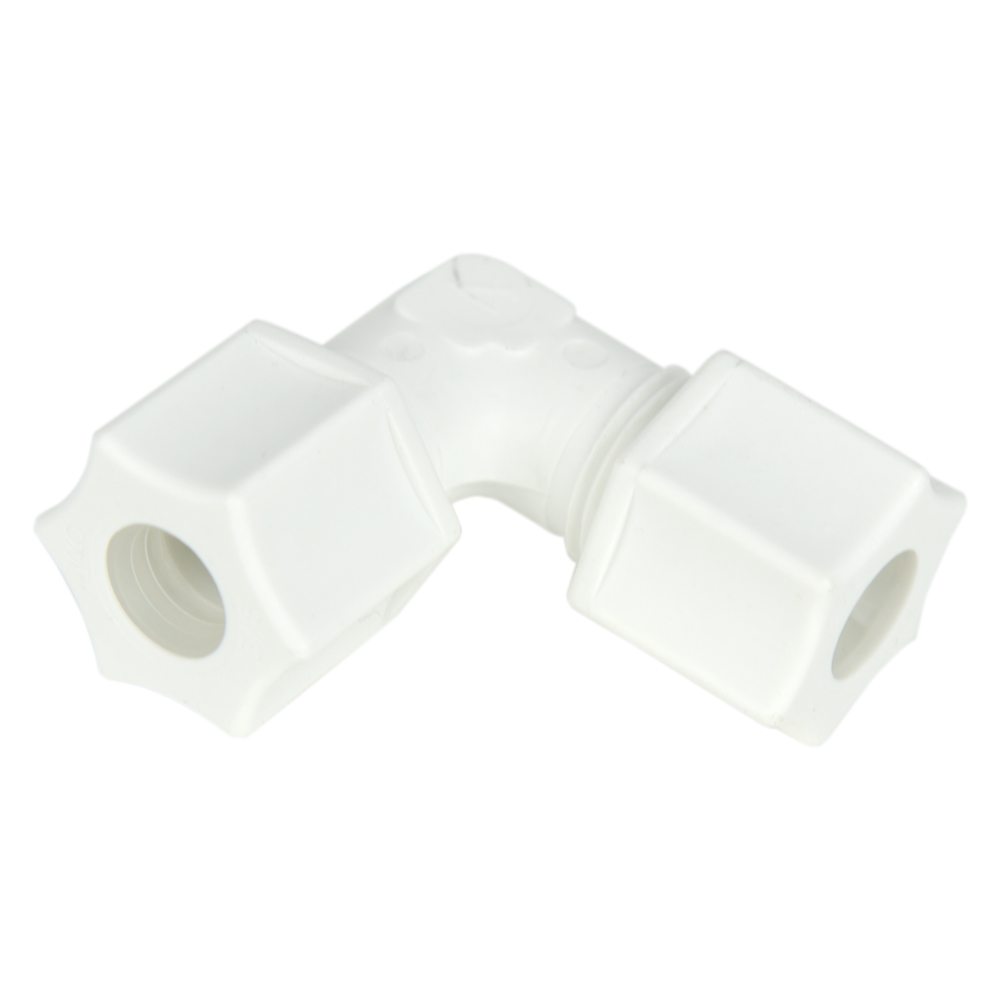 "3/8"" OD Tube x 3/8"" OD Tube Polypropylene Elbow"