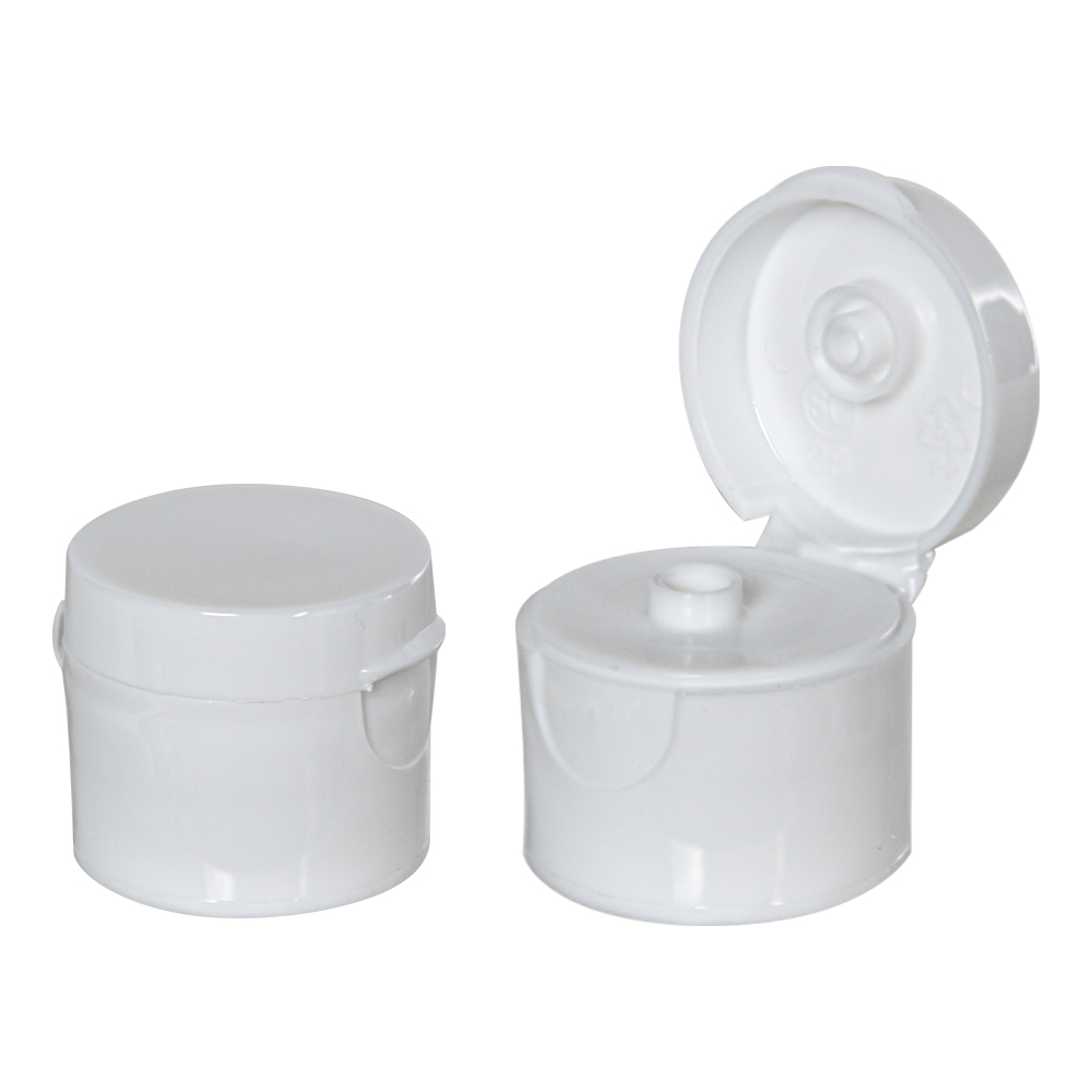 """20/410 White Smooth Snap-Top Dispensing Cap with 0.125"""" Orifice"""