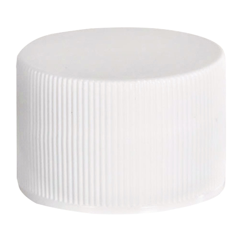 28/410 White Polypropylene Ribbed Cap with F217 Liner