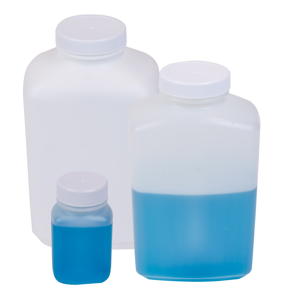 Wide Mouth Oblong HDPE Bottles with Caps