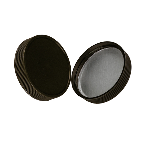 63/400 Polypropylene Black Cap with Heat Induction Liner