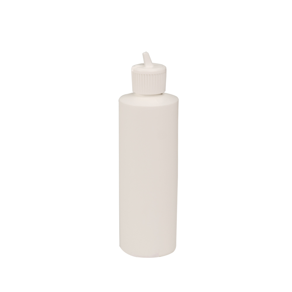 8 oz. White HDPE Cylindrical Sample Bottle with 24/410 Flip-Top Cap