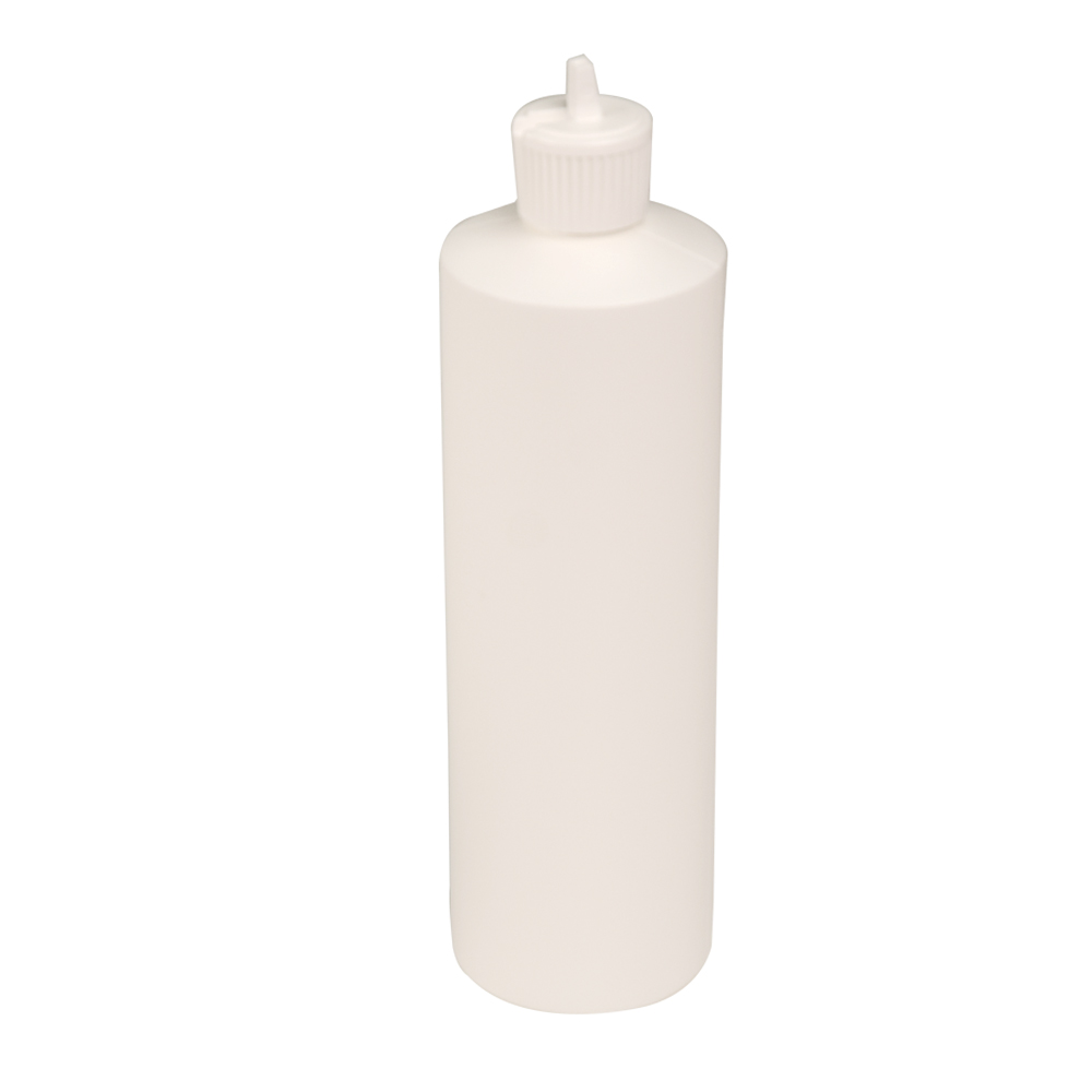 16 oz. White Cylindrical Sample Bottle with 24/410 Flip-Top Cap
