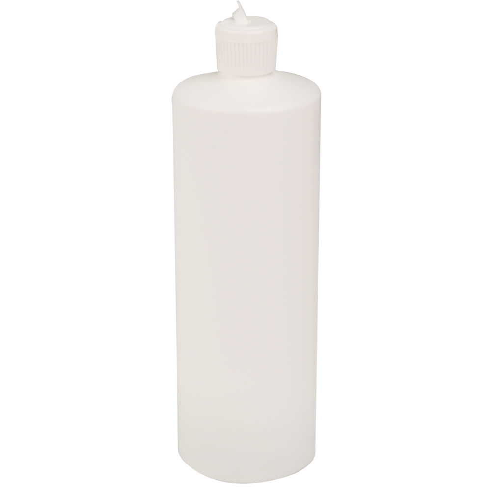 32 oz. White HDPE Cylindrical Sample Bottle with 28/410 Flip-Top Cap