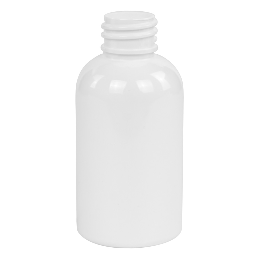 2 oz. White PET Squat Boston Round Bottle with 20/410 Neck (Cap Sold Separately)