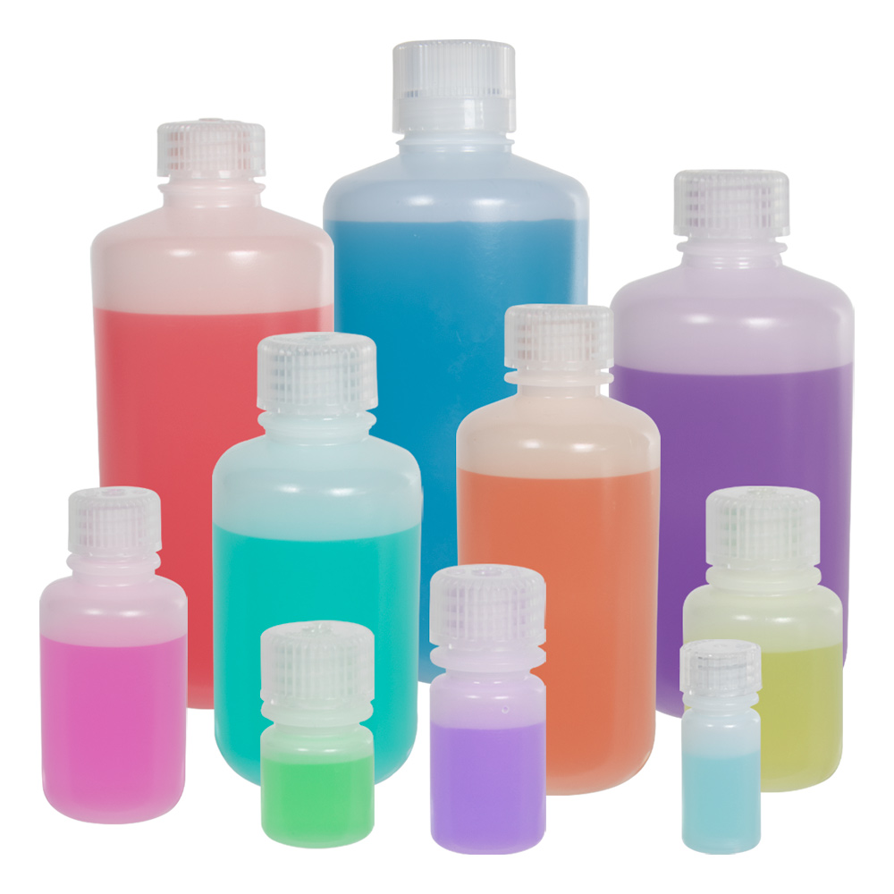Thermo Scientific™ Nalgene™ Lab Quality Narrow Mouth HDPE Bottles with Caps
