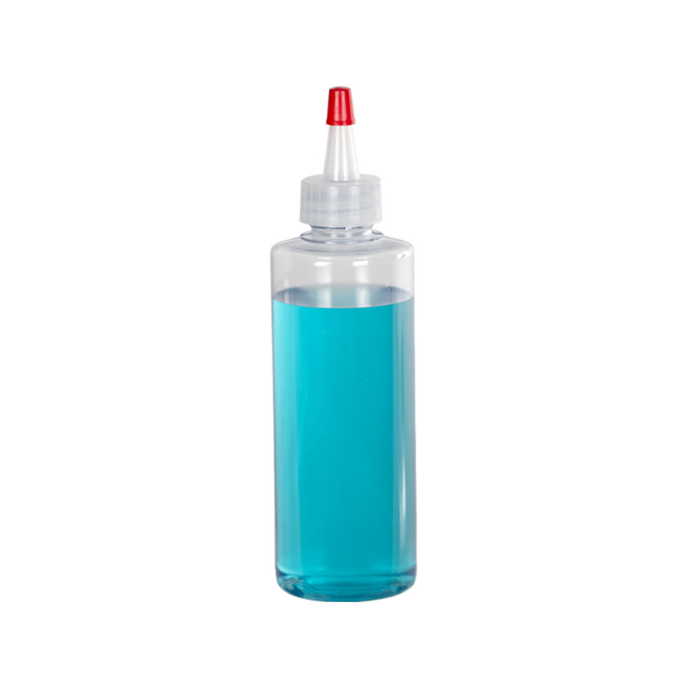 4 oz. Clear PVC Cylindrical Bottle with 20/410 Natural Yorker Cap