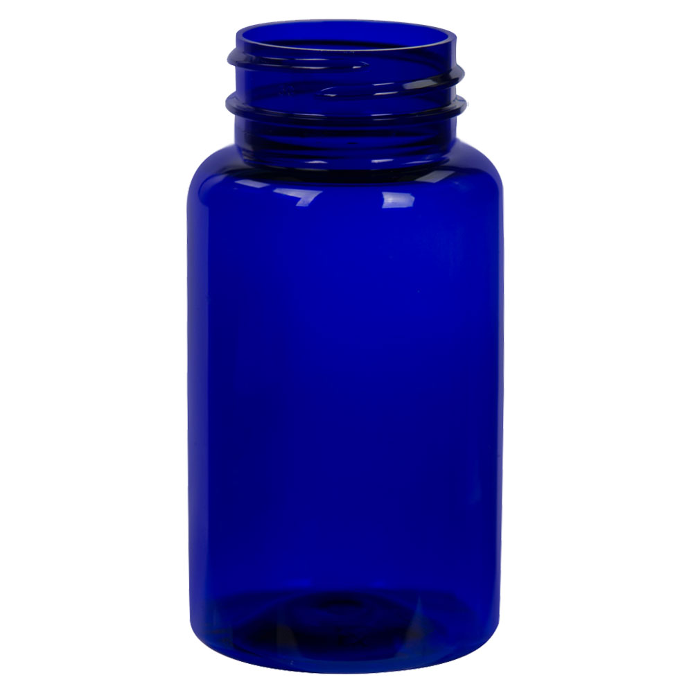 120cc Cobalt Blue PET Packer Bottle with 38/400 Neck (Cap Sold Separately)