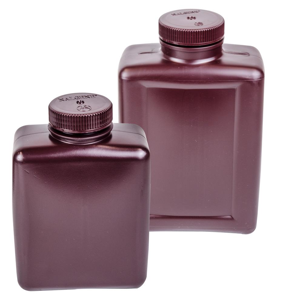Thermo Scientific™ Nalgene™ Amber Rectangular Bottles with Caps
