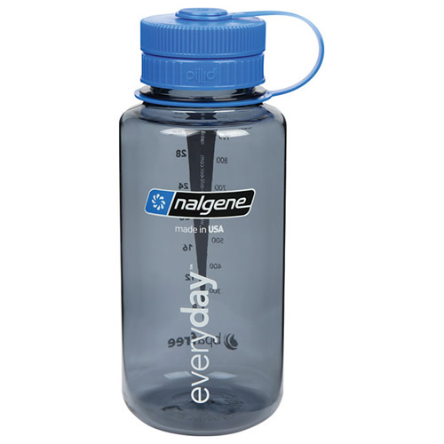 32 oz. Wide Mouth Gray Bottle with Blue Pillid