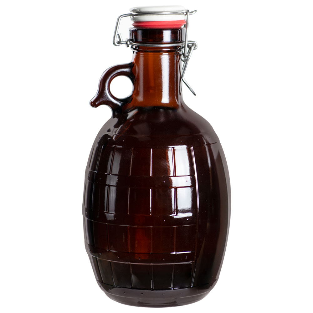 Amber Barrel Glass Growler Jug with Swing Closure