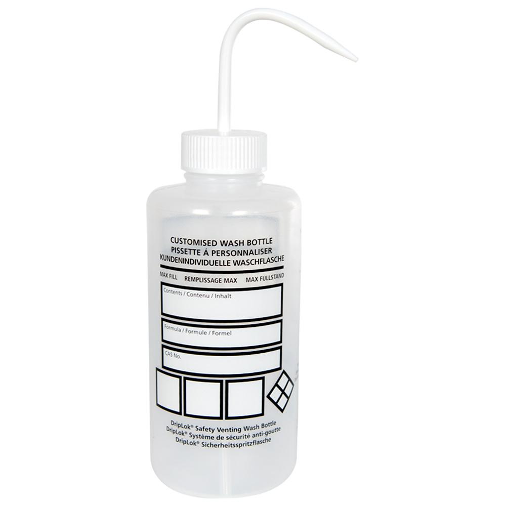 1000mL Azlon® Driplok® Blank Venting Wash Bottle