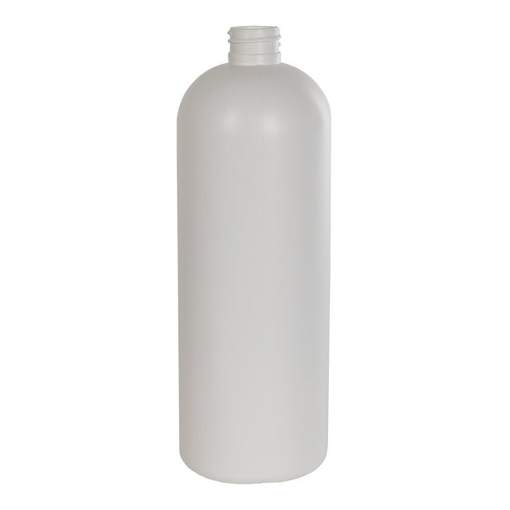 32 oz. HDPE White Tall Cosmo Bottle with 28/410 Neck (Cap Sold Separately)