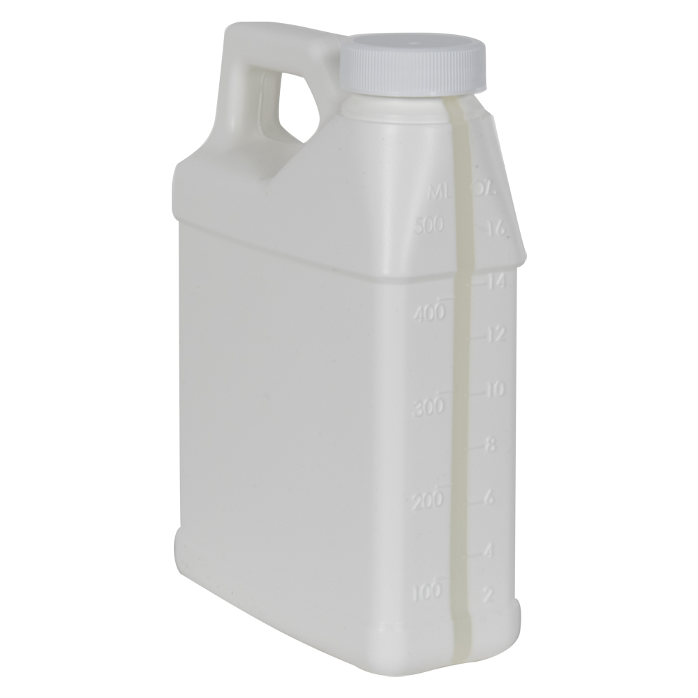 16 oz. White F-Style Jug with Window Strip & 33/400 Plain Cap with F217 Liner