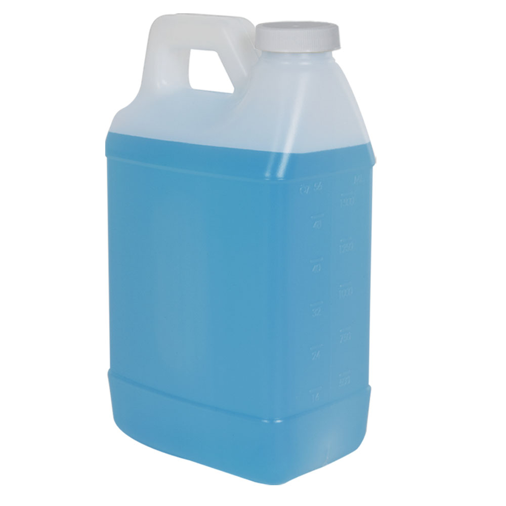 64 oz. Graduated Natural F-Style Jug with 38/400 Plain Cap with F217 Liner