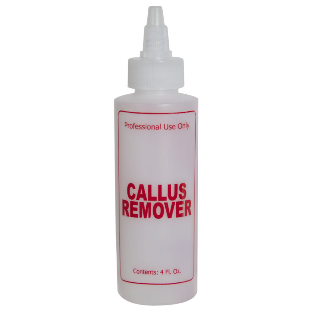 """4 oz. Natural HDPE Cylinder Bottle with 24/410 Twist Open/Close Cap & Red """"Callus Remover"""" Embossed"""