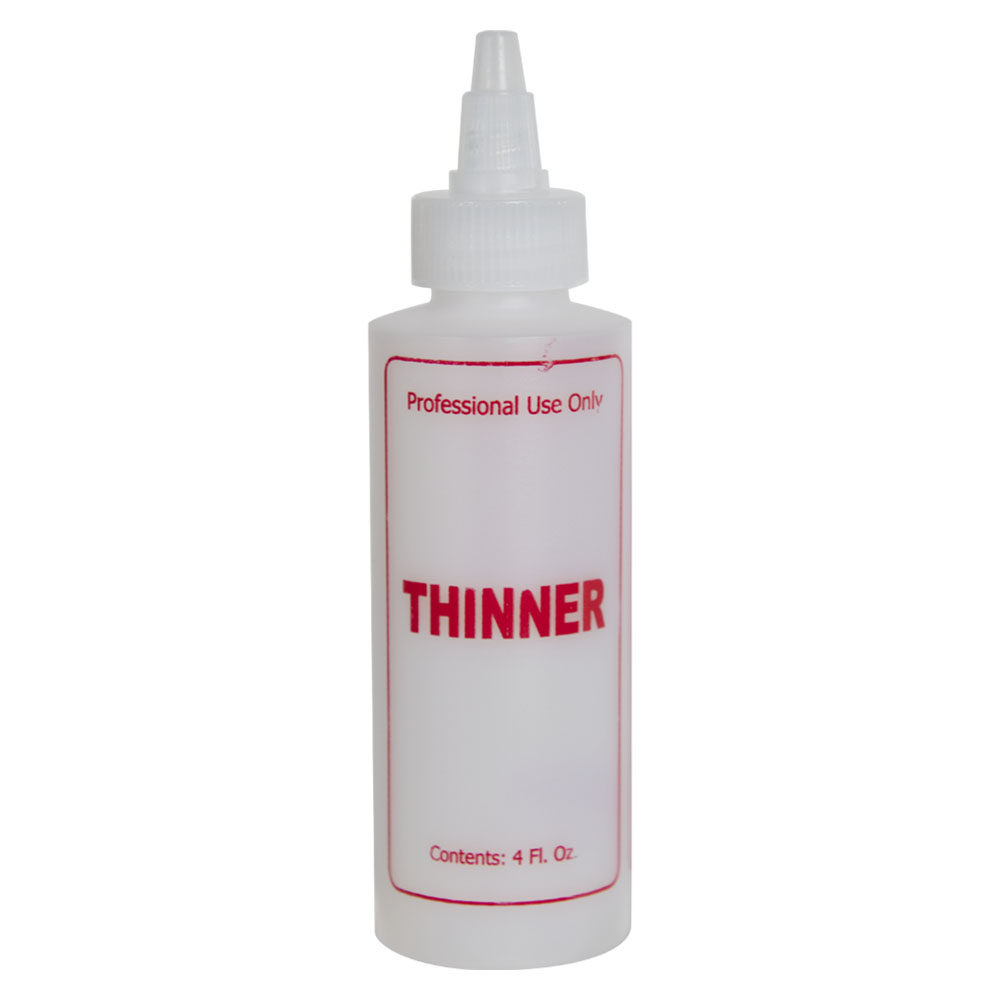 """4 oz. Natural HDPE Cylinder Bottle with 24/410 Twist Open/Close Cap & Red """"Thinner"""" Embossed"""