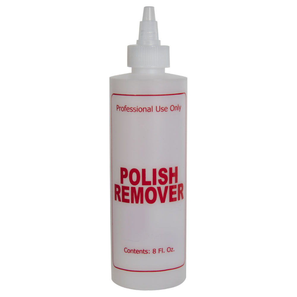 "8 oz. Natural HDPE Cylinder Bottle with 24/410 Twist Open/Close Cap & Red ""Polish Remover"" Embossed"