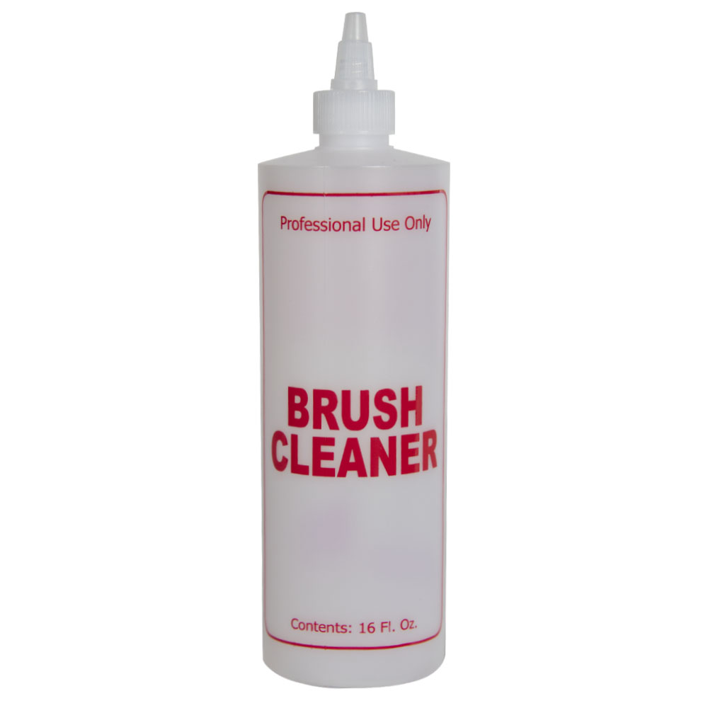 """16 oz. Natural HDPE Cylinder Bottle with 24/410 Twist Open/Close Cap & Red """"Brush Cleaner"""" Embossed"""