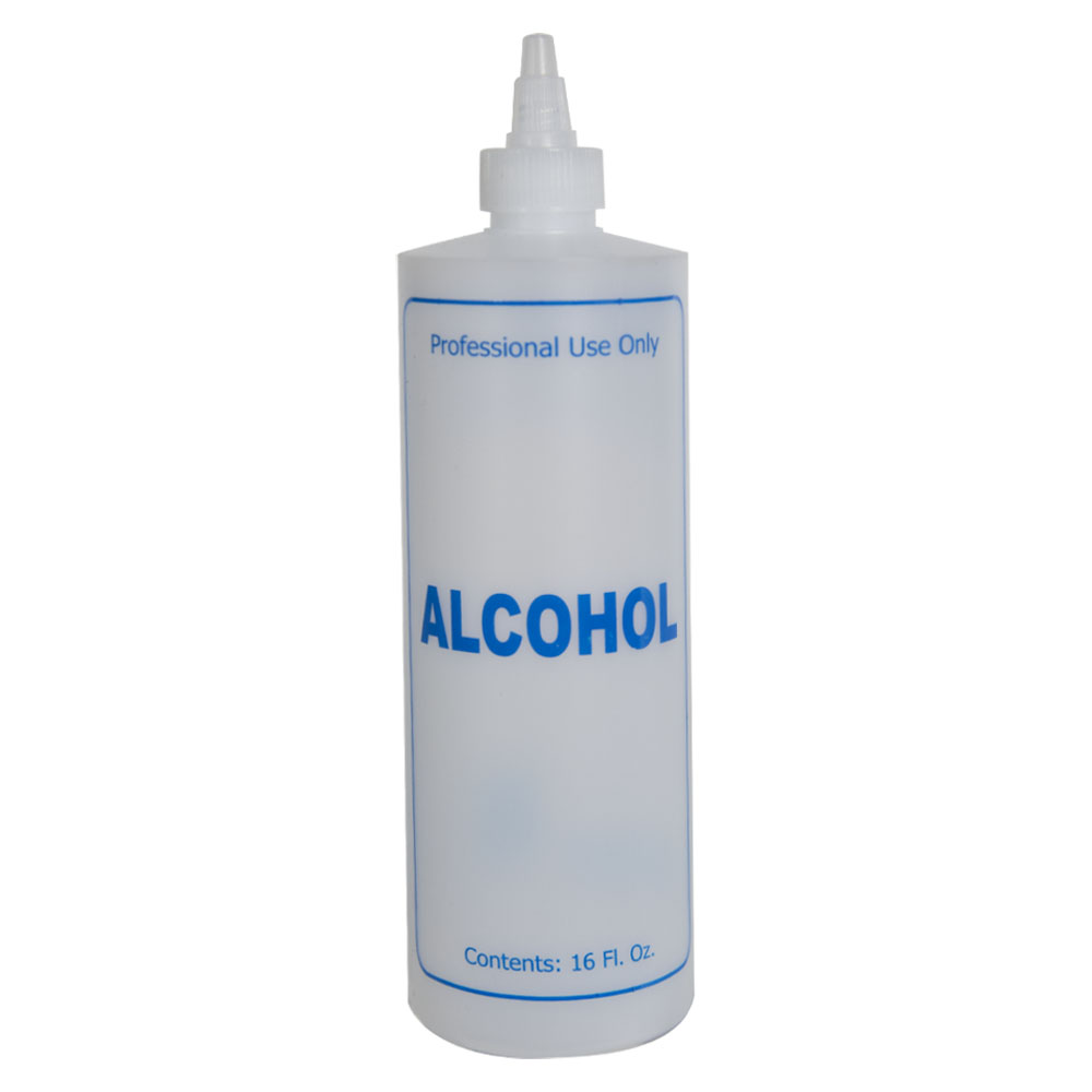 "16 oz. Natural HDPE Cylinder Bottle with 24/410 Twist Open/Close Cap & Blue ""Alcohol"" Embossed"