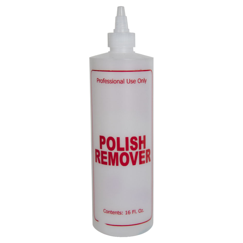 "16 oz. Natural HDPE Cylinder Bottle with 24/410 White Twist Open/Close Cap & Red ""Polish Remover"" Embossed"