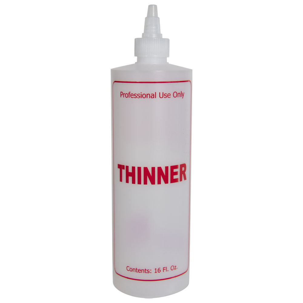 """16 oz. Natural HDPE Cylinder Bottle with 24/410 White Twist Open/Close Cap & Red """"Thinner"""" Embossed"""