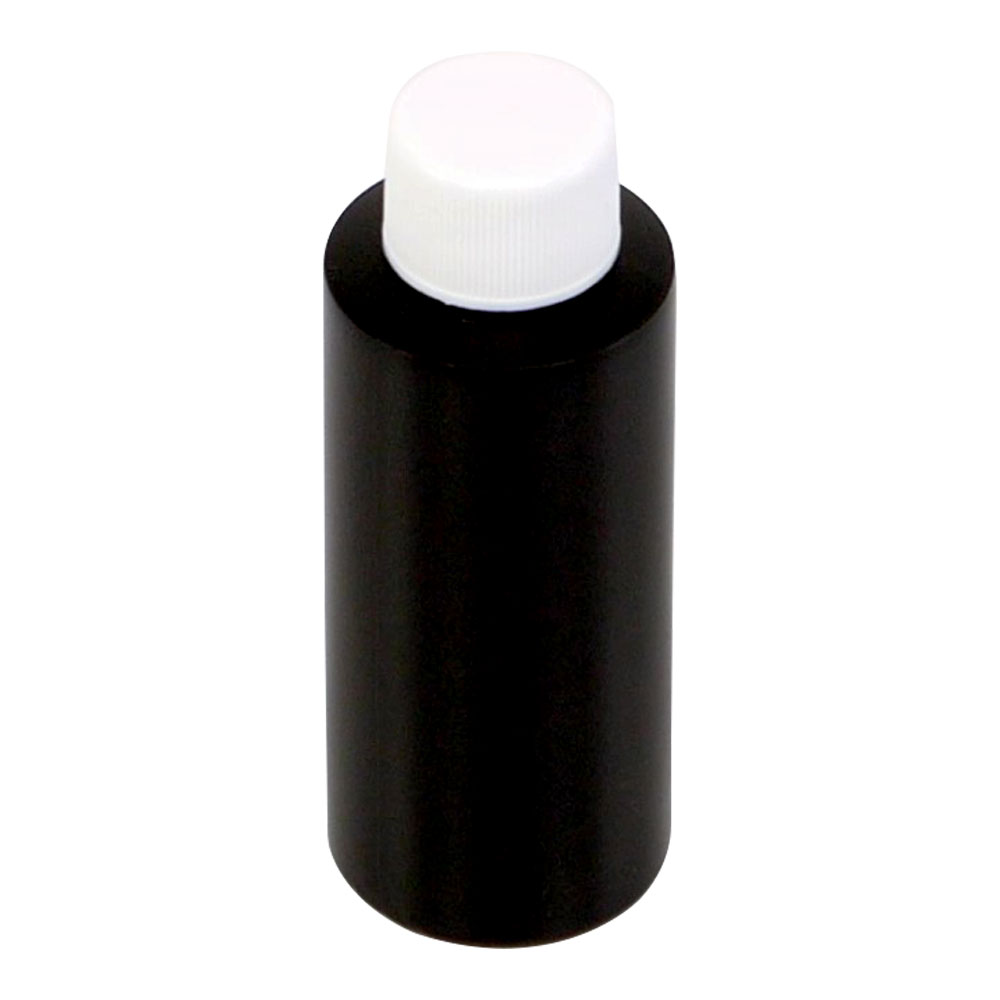 2 oz. Black HDPE Cylindrical Bottle with 20/410 Plain Cap with F217 Liner