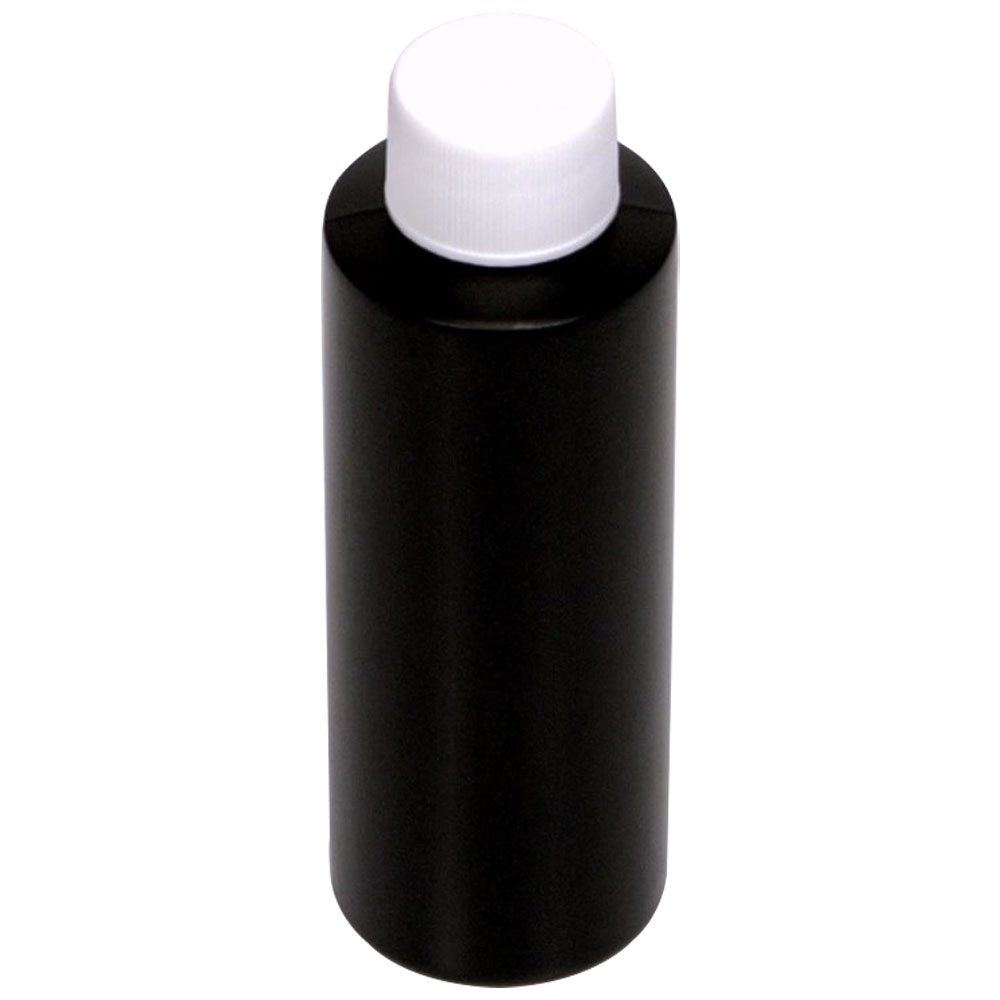 4 oz. Black HDPE Cylindrical Bottle with 24/410 Plain Cap