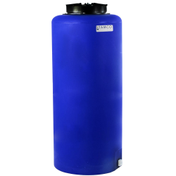 "40 Gallon Tamco® Vertical Blue PE Tank with 12-1/2"" Lid & 3/4"" Fitting - 19"" Dia. x 43"" High"