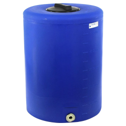 "55 Gallon Tamco® Vertical Blue PE Tank with 8"" Lid & 1"" Fitting - 24"" Dia. x 33"" High"