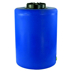"55 Gallon Tamco® Vertical Blue PE Tank with 12-1/2"" Lid & 1"" Fitting - 24"" Dia. x 34"" High"