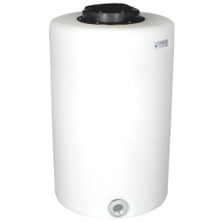 "65 Gallon Tamco® Vertical Natural PE Tank with 12-1/2"" Lid & 2"" Fitting - 24"" Dia. x 39"" High"